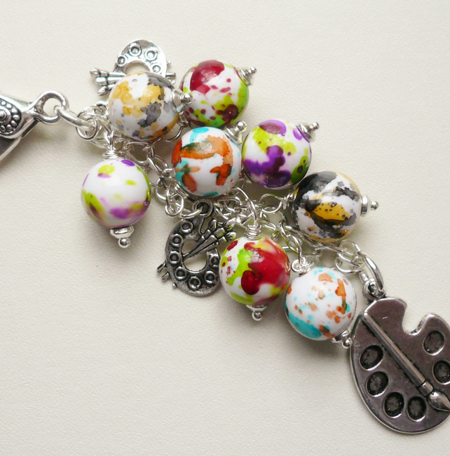 Handbag Charm Paint Splash Bead Artist Painter Themed   KCJ1774