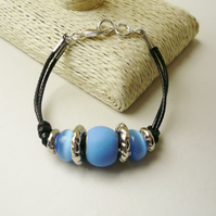 Blue and Silver Rondelle Bead Black Twin Cord Bracelet   KCJ1766