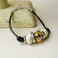 Pale Yellow and Silver Rondelle Bead Black Twin Cord Bracelet   KCJ1765