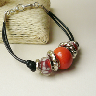 Rusty Red and Silver Rondelle Bead Black Twin Cord Bracelet   KCJ1767