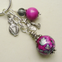 Keyring Scent Bottle Bright Pink and Grey Glass Bead Silver   KCJ1784