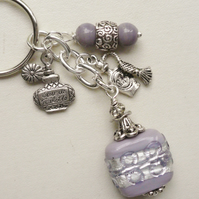 Keyring Scent Bottle Lilac and Silver Glass Bead  KCJ1786
