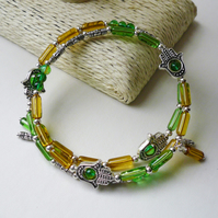 Memory Wire Wrap Bracelet Green Yellow Glass Tube Silver Hamsa Hand  KCJ1806