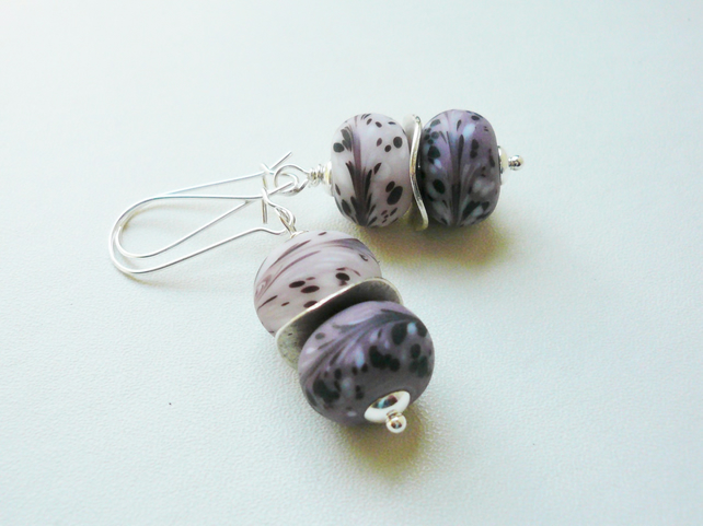 Purple Frosted Glass Rondelle Bead Dangle Earrings   KCJ1808