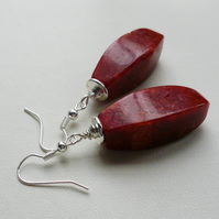 Red Pressed Coral Tube Dangle Earrings   KCJ1815