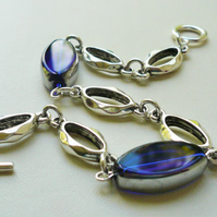 Royal Blue Electroplated Glass Oval Bead  Silver Link Bracelet  KCJ1827