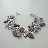 Purple Czech Glass Leaf Bead Silver Link Bracelet   KCJ1846