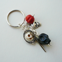 Skull Keyring Bag Charm Black Cream Orange Howlite  Silver   KCJ1847