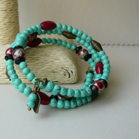 Turquoise Red and Black Antique Bronze Memory Wire Wrap Around Bracelet  KCJ1841