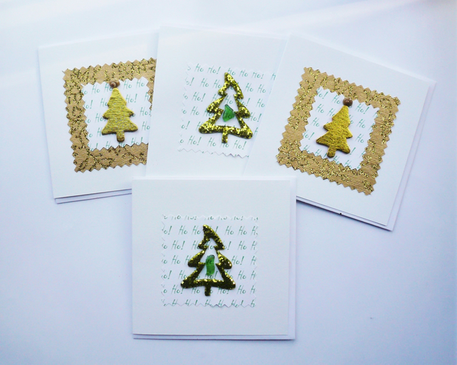 Green and Gold Christmas Tree Sea Glass Shell  Christmas Cards  Pack of 4