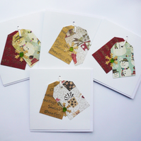 Snowman and Presents Tag Style Sea Glass Shell Christmas Cards  Pack of 4