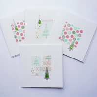 Green and Pink Christmas Tree Sea Glass Shell Christmas Cards Pack of 4
