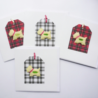 Tartan Westie Dog Sea Glass Greetings Note Cards  Pack of 4