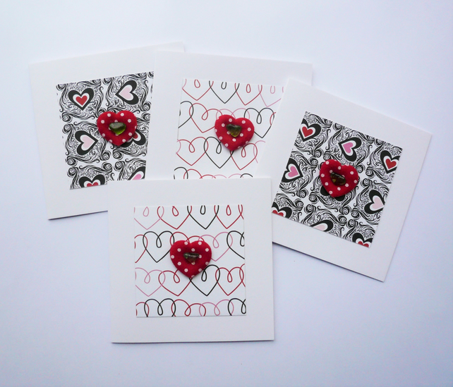 Black and Red Heart Themed Sea Glass Greetings Note Cards   Pack of 4