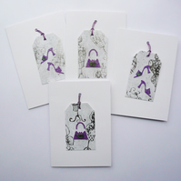 4 Pack Purple and Silver Sea Glass Shoes and Handbag Themed Cards  Handmade