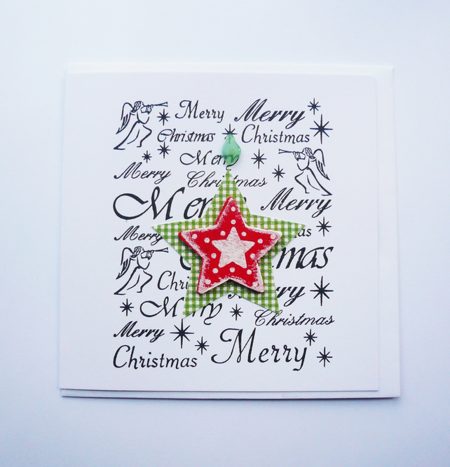 Red Green and White Christmas Star Sea Glass Christmas Card