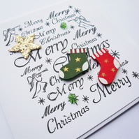 Red Green and Gold Christmas Stockings and Star Sea Glass Christmas Card