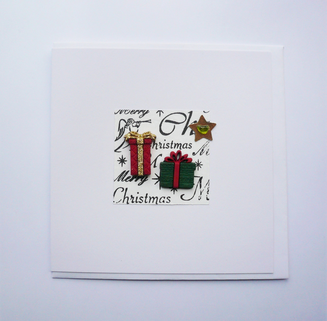 Red Green and Gold Christmas Presents and Star Sea Glass Christmas Card