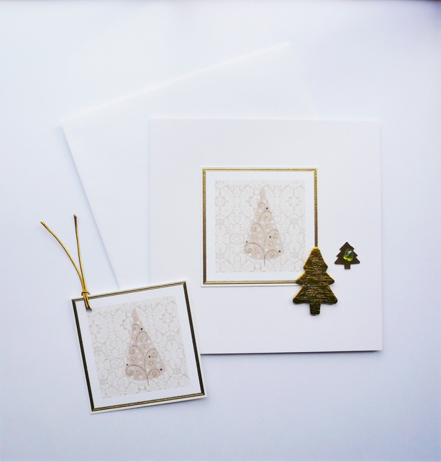 Christmas Tree Sea Glass Embellished Christmas Card and Gift Tag