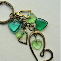 Keyring Bag Charm Antique Bronze Teal and Green Glass Heart    KCJ1877
