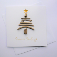 Handmade Driftwood Tree and Gold Star Christmas Card