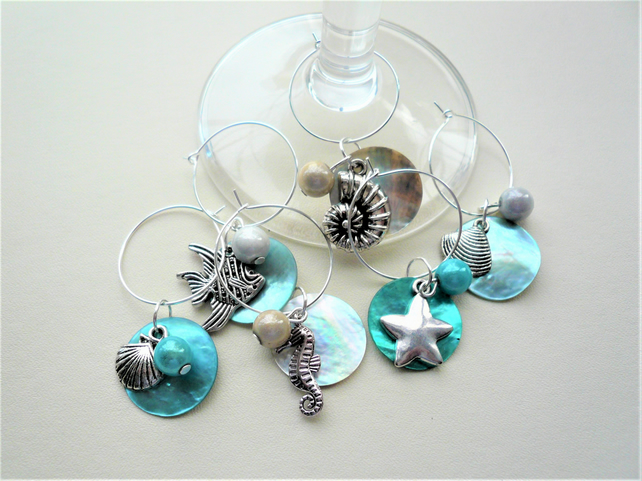 Silver  Aqua Blue Sealife Miracle Bead Shell Disc Wine Glass Charms   KCJ1883