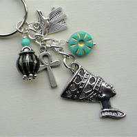 Turquoise and Black Glass Silver Egyptian Themed Keyring   KCJ1888