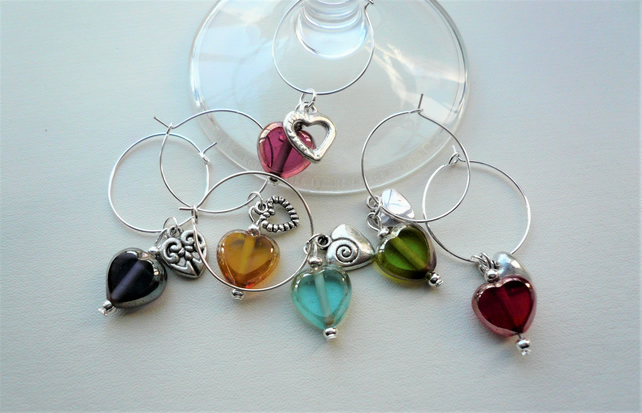 Wine Glass Charms Glass Lustre Bead Silver Heart Themed Set of 6  KCJ1884
