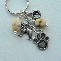 Keyring Bag Charm Light Tan Pug Dog Themed    KCJ1905