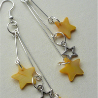 Long Silver Plated Triple Star Shell Dangle Earrings   KCJ1929