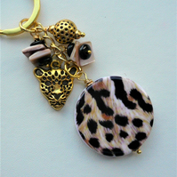 Keyring Bag Charm Gold Tone Leopard Wild Cat Themed KCJ1944