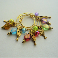 Gold Champagne Glass Multicoloured Lustre Bead Wine Glass Charms    KCJXWG4