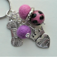 Keyring Pink and Purple Felt and Glass Bead 'Knitting Queen' Themed  KCJ1970