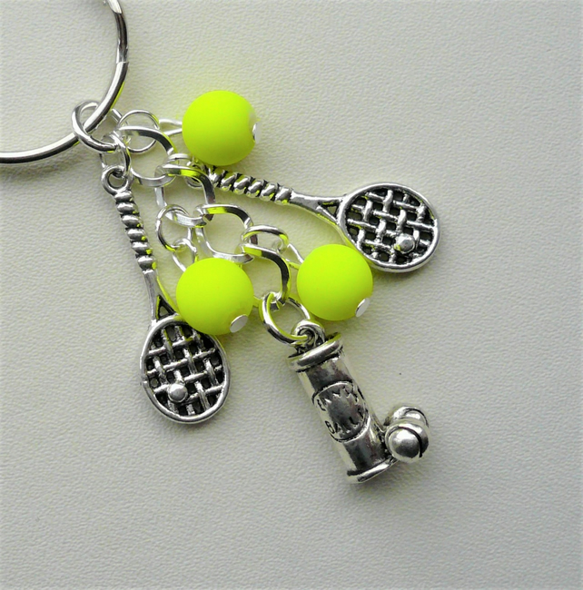Neon Yellow and Silver Tennis Player Lover Themed Keyring Bag Charm  KCJ1978