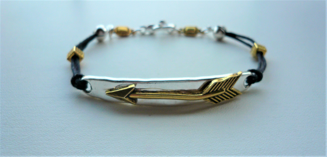 Mixed Silver and Gold Plated Arrow Themed Cord Bracelet   KCJ1961