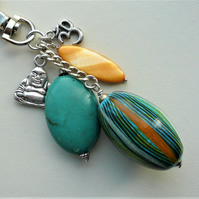 Orange Shell and Turquoise Magnesite Buddha Themed Bag Charm  KCJ908