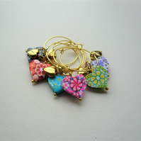 Wine Glass Charms Poly Clay and Gold Heart Themed Set of 6  KCJ1993