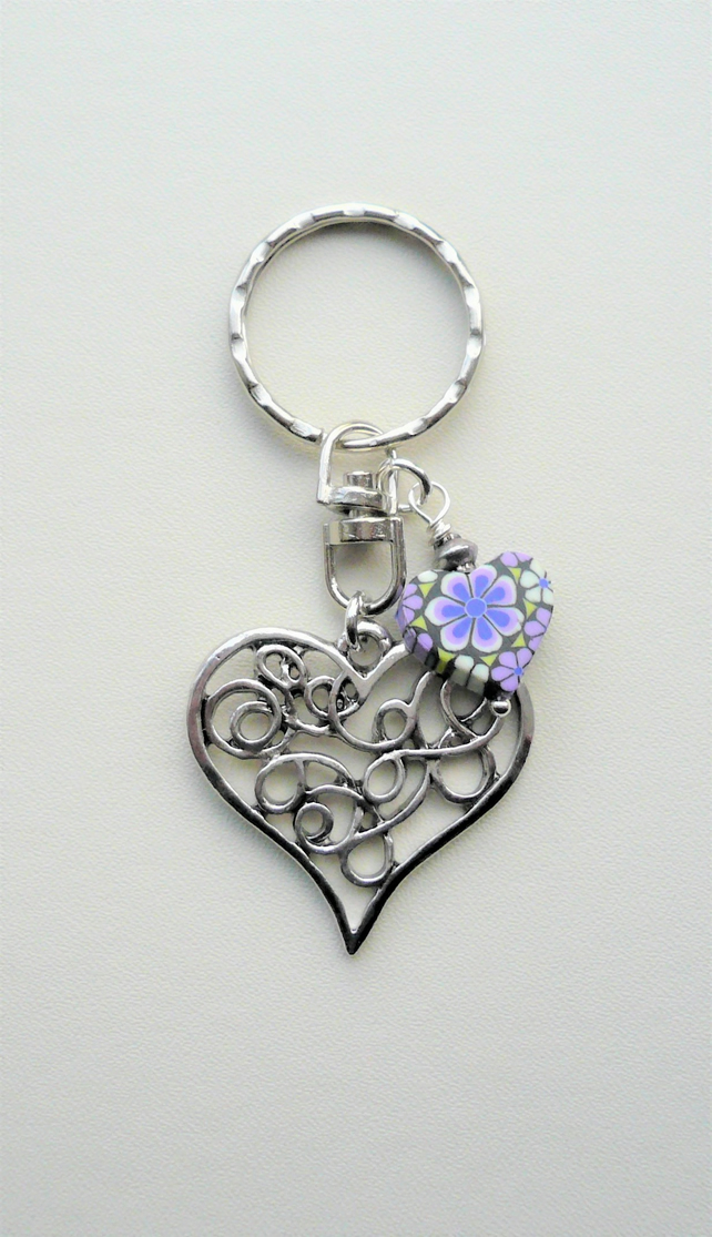 Purple and Black Poly Clay and Silver Heart Keyring Bag Charm   KCJ1999