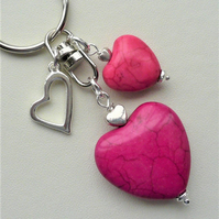 Hot Pink Howlite and Silver Heart Keyring Bag Charm   KCJ2003