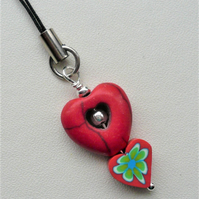 Red Heart Howlite and Clay Beaded Zipper Pull   KCJ1985