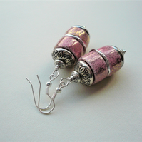 Pink Gold Splashed Glazed Ceramic Heishi Twin Bead Silver  Dangle Earrings K2014