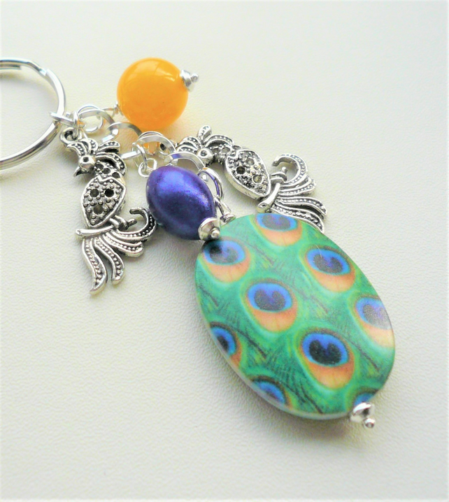Peacock Themed Blue Yellow Green Bead Silver Keyring or Bag Charm   KCJ2018