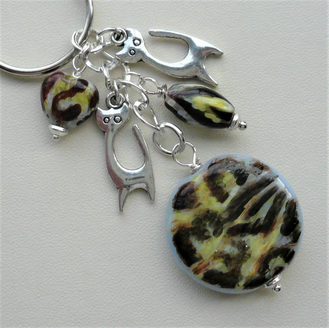 Tabby Cat Themed Glass Bead Silver Keyring or Bag Charm  KCJ2020