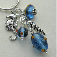 Blue Glass Bead Silver Seahorse and Shell Themed Keyring Bag Charm    KCJ2036