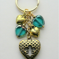 Teal Green Blue Glass and Gold Heart Keyring or Bag Charm   KCJ2039