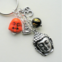 Keyring Bag Charm Orange Black Silver Buddha Ohm Themed  KCJ2038