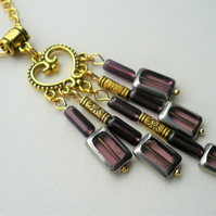 Purple Glass and Gold Plated Tube Bead Cluster Necklace   KCJ2057