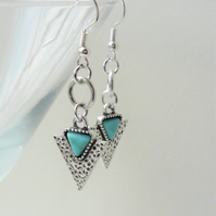Silver and Turquoise Howlite Triangle Dangle Earrings   KCJ2069