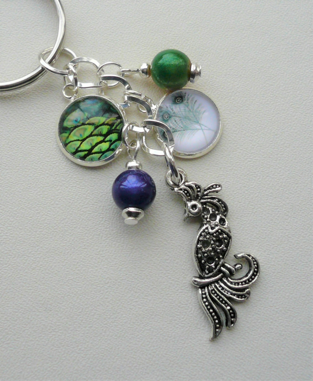 Blue Green Silver Peacock Cabochon Keyring or Bag Charm    KCJ2073