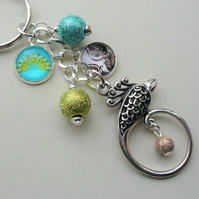 Blue Green Silver Peacock Glass Cabochon Keyring or Bag Charm    KCJ2075